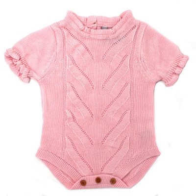 knitted girls pink short sleeve romper