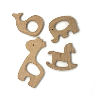 wooden baby teether different animals