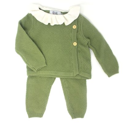 Boys and girls green ruffle collar knitted set