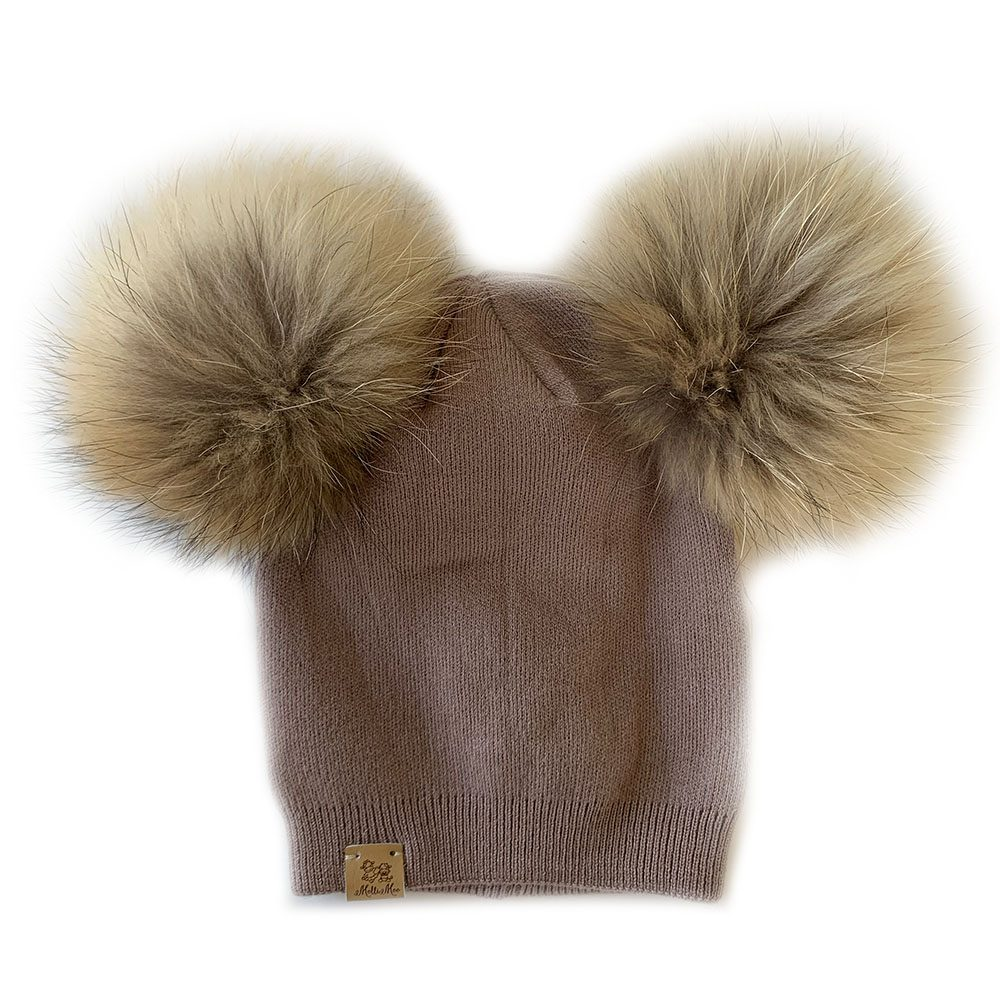baby toddler cashmere double pompom hat